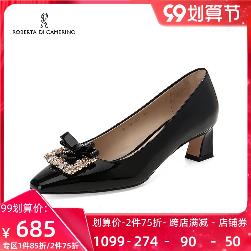 roberta诺贝达春季单鞋新品中跟水钻女鞋轻奢饰扣RS97207