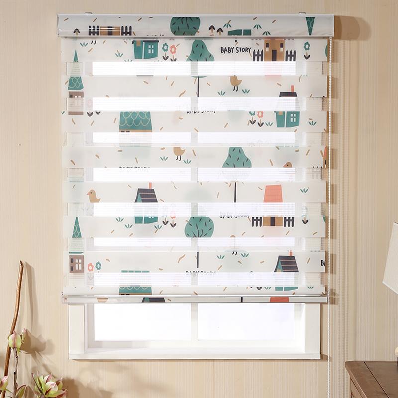 Перфорация мягкий марля подвижный лифтинг шторы занавес гостиная спальня ванная комната двойной печать в тени водонепроницаемый