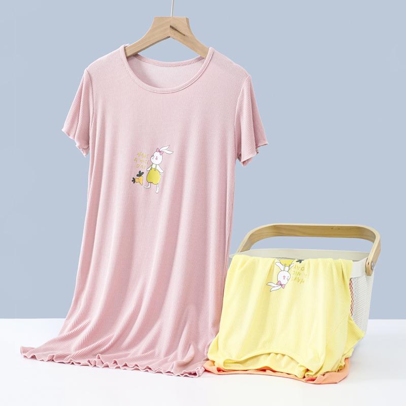 顶瓜瓜儿童睡衣女童睡裙夏季公主风薄款莫代尔短袖家居服连衣裙子