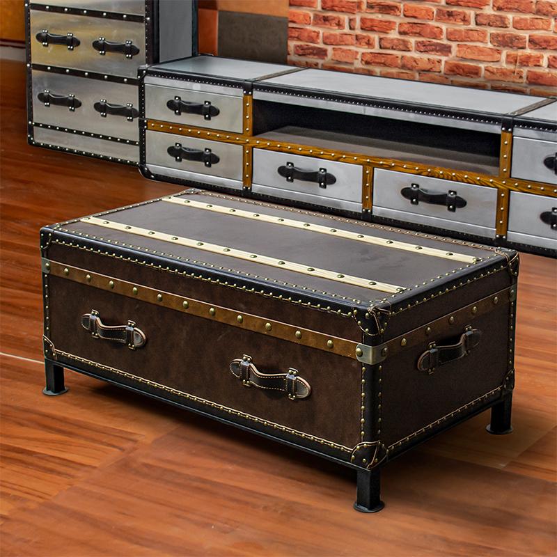 コーヒーテーブルの真皮の客間の復古のスーツケースは簡単で現代的なアメリカ式田舎の家庭用の小さな家型ソファーのお茶何しますか?