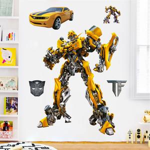 变形金刚大黄蜂墙贴擎天柱机器人汽车卡通动漫儿童房贴纸装饰贴画