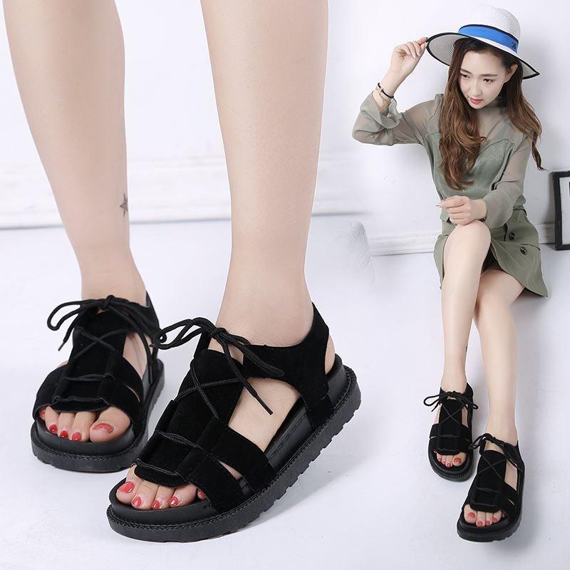 系带鞋子女2019潮鞋单鞋夏季凉鞋大学生柔软夏日女生少女休闲鞋