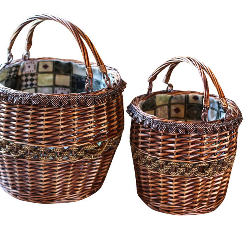 藤编手提篮双提手水果篮装鸡蛋篮子厨房装蔬菜编织储物筐礼品篮