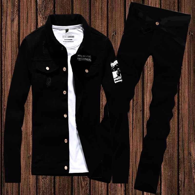 Autumn mens black denim jacket mens Korean version slim coat mens suit fashionable and handsome long pants clothes