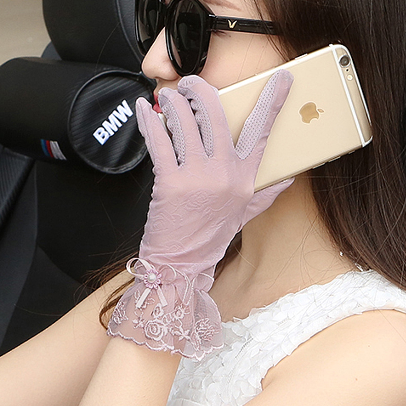 Summer sunscreen gloves womens anti ultraviolet thin ice driving electric car spring and autumn lace touch screen anti slip and breathable