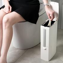 卫生间垃圾桶马桶刷一体式套装家用带盖夹缝纸篓厕所长方形置物架