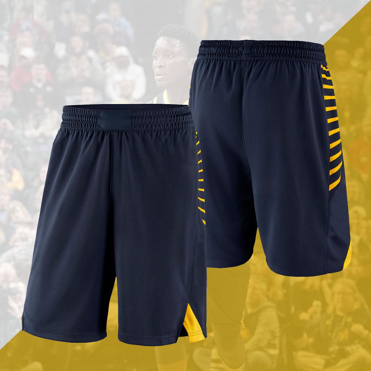 新赛季印第安纳奥拉迪波史蒂芬森联盟版白色蓝黑色运动篮球裤短裤