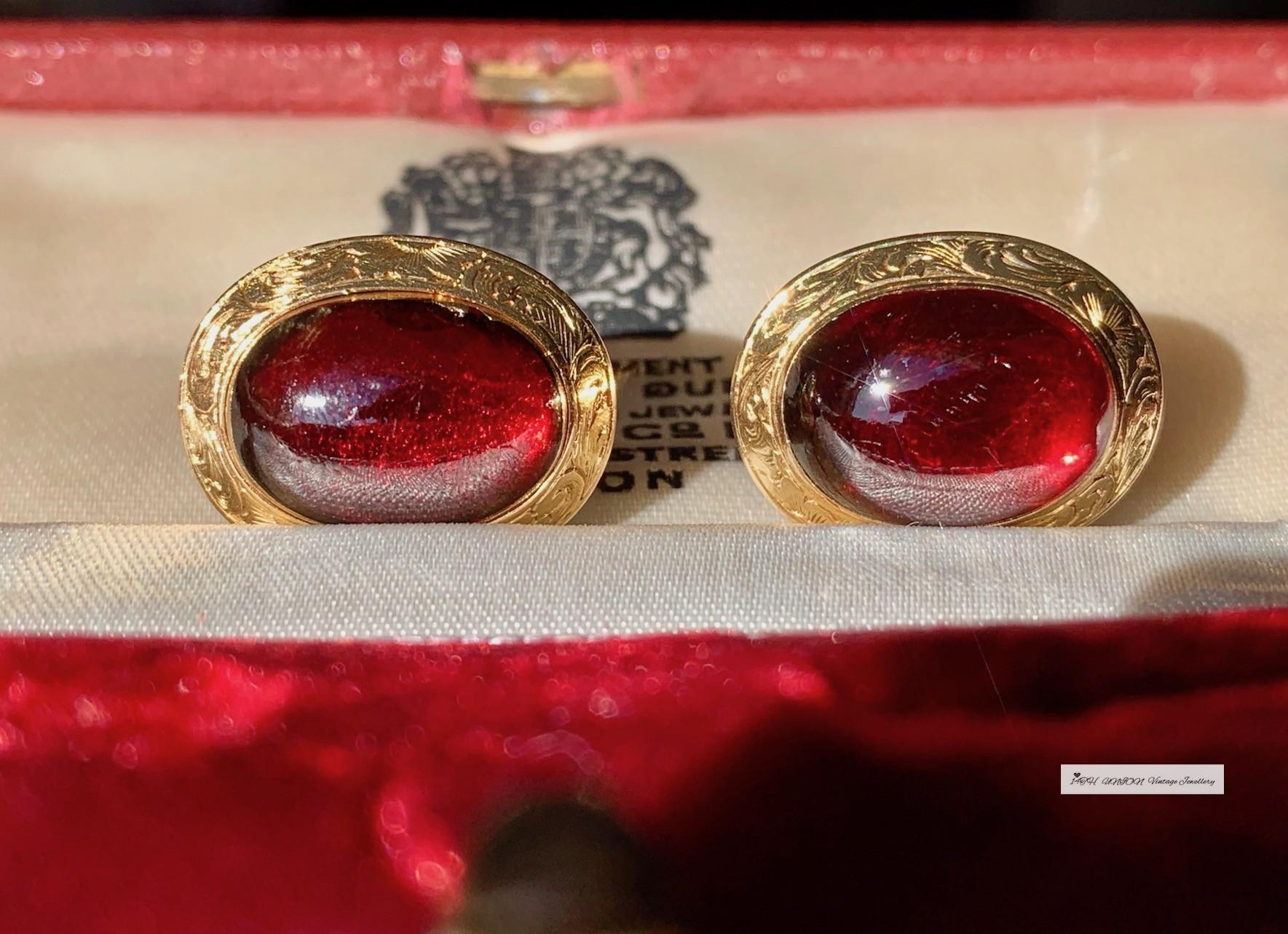 SOLD??イギリスエドワード時代のアンティーク18 K黄金の華麗な彫刻模様の天然大紅ガーネット素面ピアス