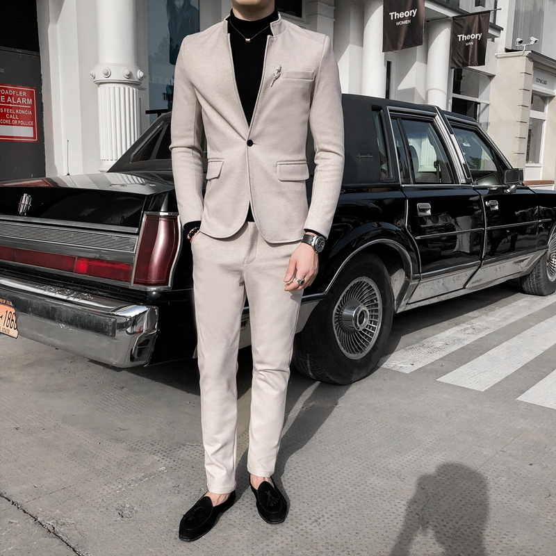 Slim stand collar Chinese suit mens pure color slim wool long sleeve suit pants two piece suit