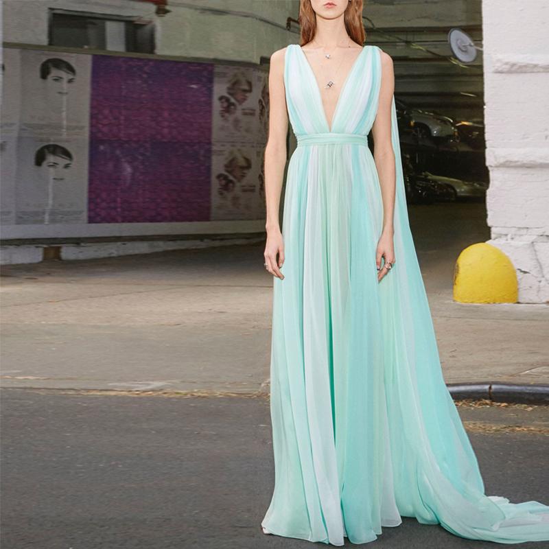 热销4件限时抢购礼服生日连衣裙女 气质炫雅风超仙的拼色仙女裙长裙显瘦显高 气质