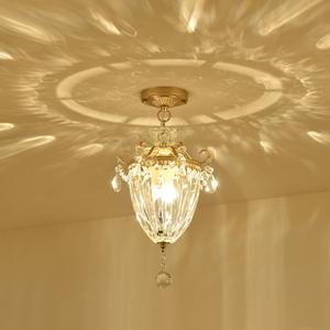 美式水晶吸顶灯门厅入户玄关过道走廊吧台阳台灯具简约欧式水晶灯