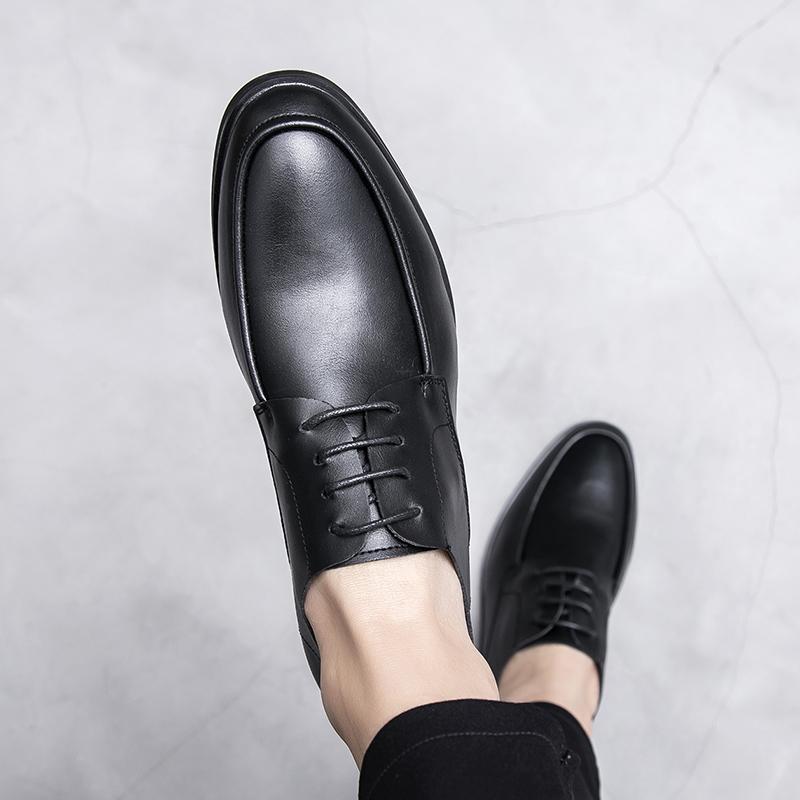 休閒皮鞋男生皮鞋潮流韩版青年商务正装软面皮软底冬季工作男皮鞋详细照片