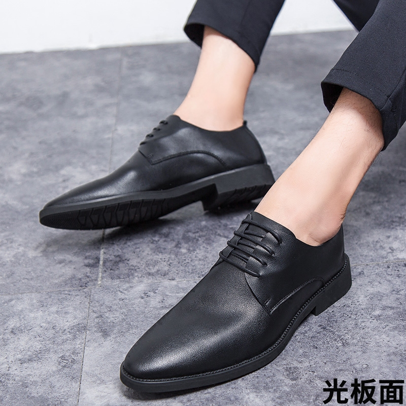 休闲皮鞋男生皮鞋潮流韩版青年商务正装软面皮软底春季工作男皮鞋