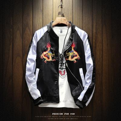 秋新款夹克男士棒球服运动外套潮流龙图案刺绣Y801-10P85