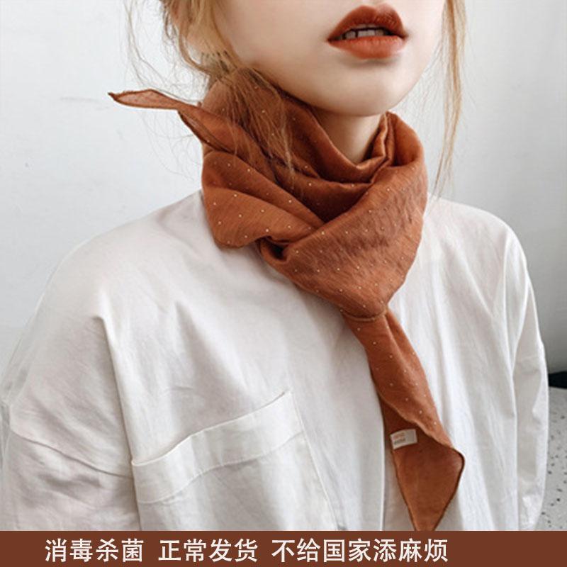 新商品の韓国の菱形の純色の綿と麻の小さいスカーフの女性の春秋の夏のネッカチーフの鎖骨のネッカチーフは小さいスカーフのマフラーを飾ります。