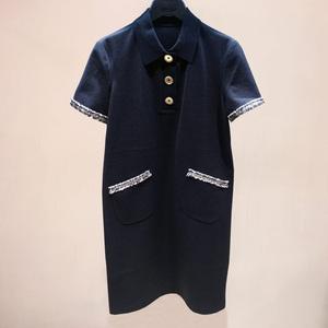 希哥弟思媞2020夏装新款气质小香风短袖连衣裙翻领显瘦裙1500297