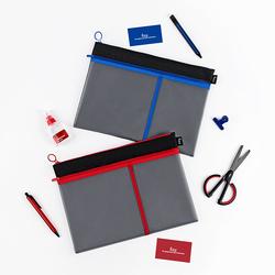 kinbor【fizz】拉链袋文件袋拉链网格学生用办公A4文件袋大容量收纳手拎文件袋