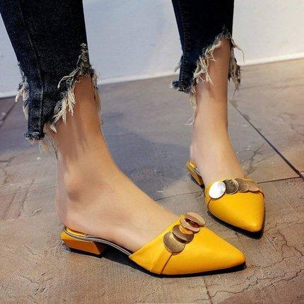 欧美夏新款包头平底凉拖女半拖鞋