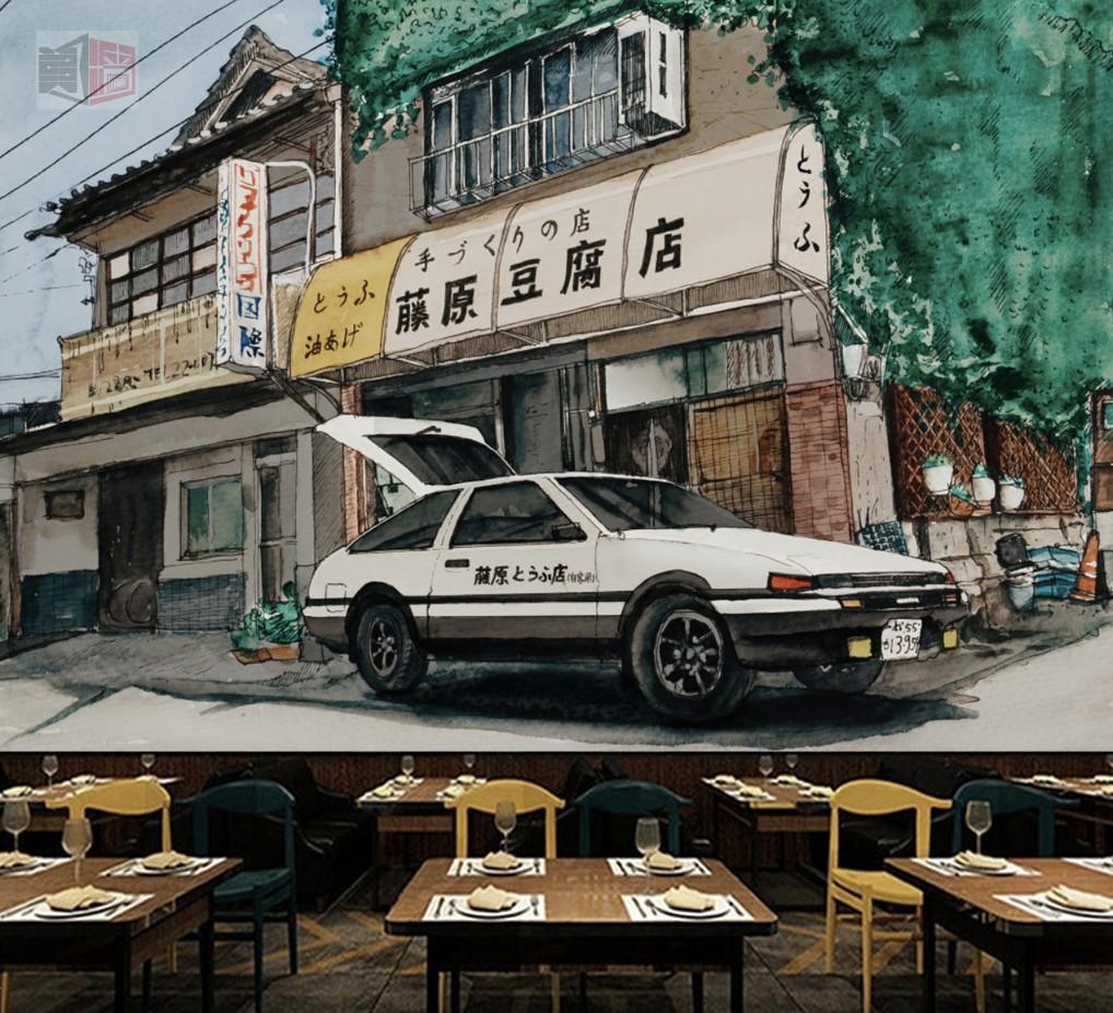 头文字d壁纸 日本街头豆腐店手绘墙纸 日本老街壁画 日式餐厅墙布