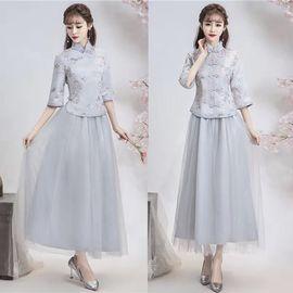2020春秋季民族风系列长款伴娘服伴娘团伴娘礼服中式伴娘服图片