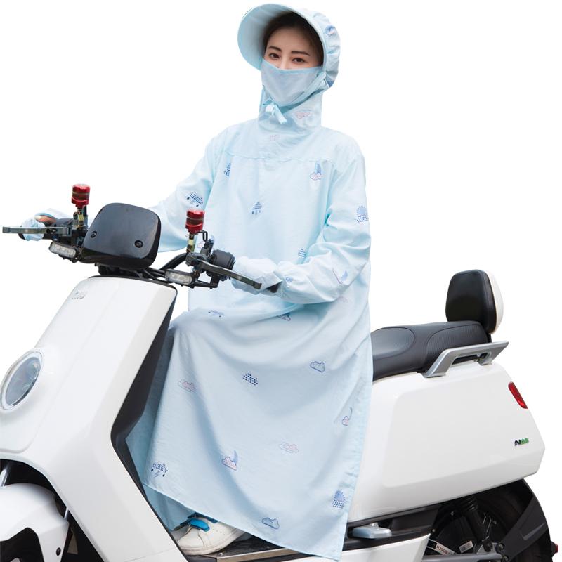 骑车防晒衣女夏季全身电动车纯棉长款防紫外线披肩摩托车遮阳衣