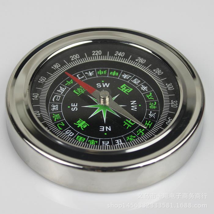 户外登山徒步野营直径75mm 带方向指标的指南针高档不锈钢大号