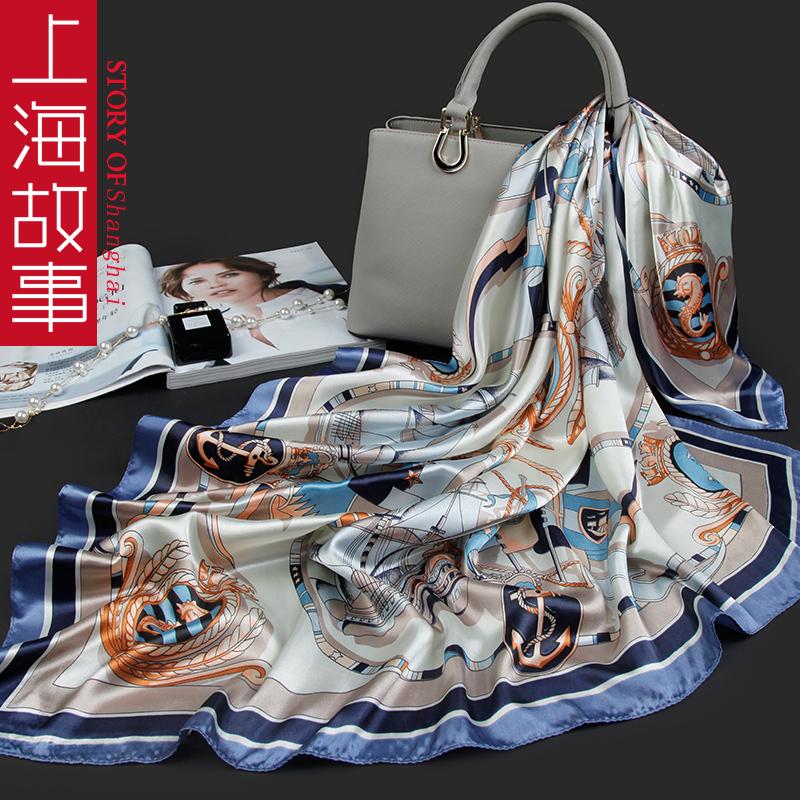上海故事港风90x90cm妈妈款小丝巾