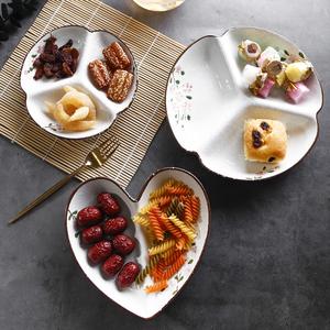 包邮樱花陶瓷三分格餐盘菜盘子分餐水果沙拉盘子分隔配菜零食盘子