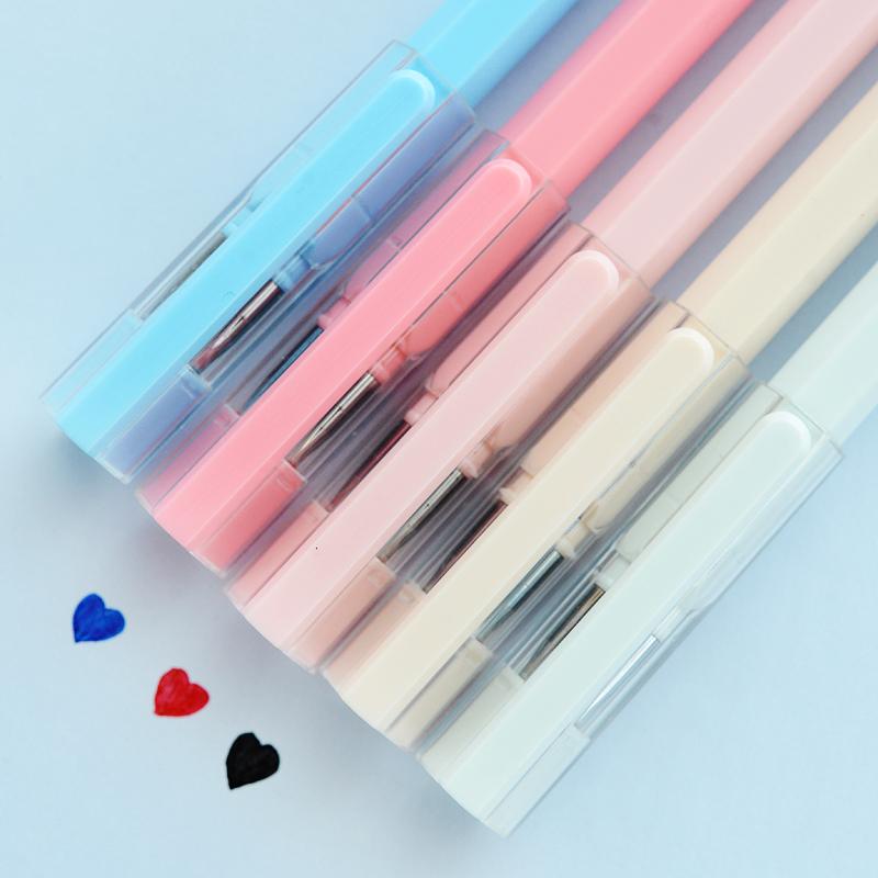 包邮 晨光文具中性笔裸色控AGPA0401 中性笔0.35mm小清新水笔 可爱创意全针管碳素水笔盒装
