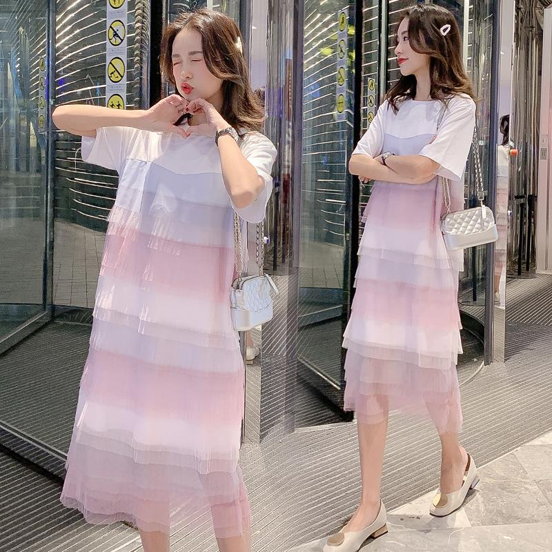 实拍2019韩版大码女装很仙的连衣裙中长款海边仙气彩色蛋糕夏裙潮10-28新券