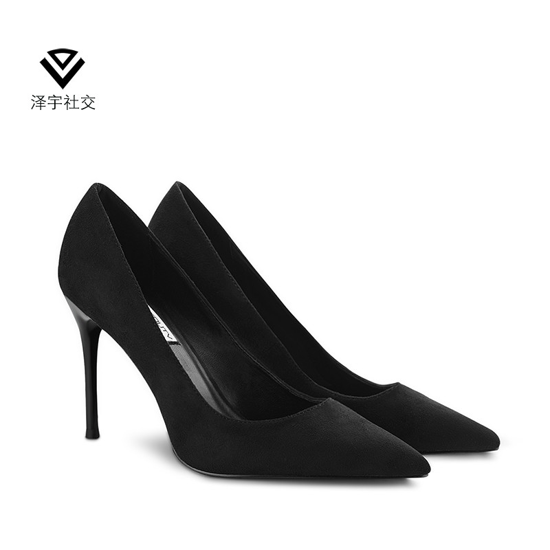 Black high heels womens thin heels pointed middle single shoes womens shallow mouth womens shoes 2019 new female workplace suede sexy