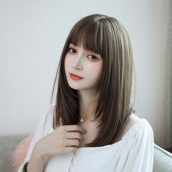 假发女韩国层次锁骨发 圆脸修脸中短发发型中长款全头套式假发套