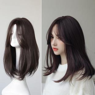 八字刘海中长发梨花头内扣发型修脸逼真假发套 假发女中分锁骨发