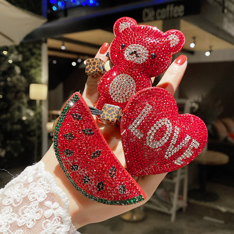 中國代購 中國批發-ibuy99 橡皮筋 新年红色可爱头绳闪钻发绳少女丸子头发圈简约带钻皮筋儿童发饰