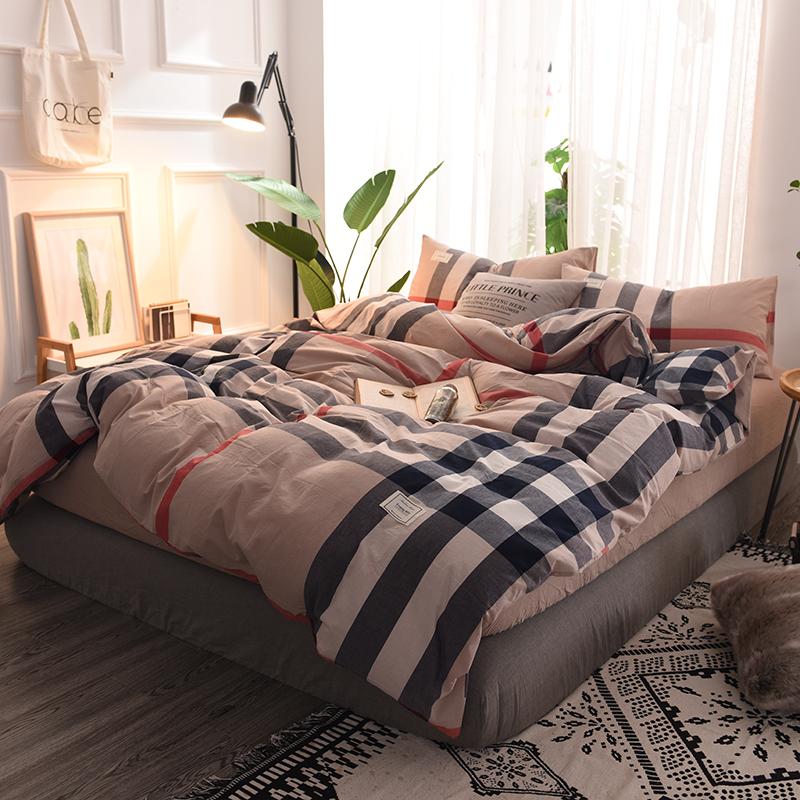 无印良品水洗棉四件套全棉 条纹格子床上用品床笠网红被套三件套4