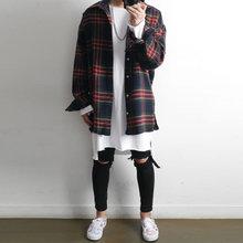 衬衣 冬季 潮牌嘻哈宽松bf大码 复古男士 男长袖 古潇毛呢格子衬衫 韩版