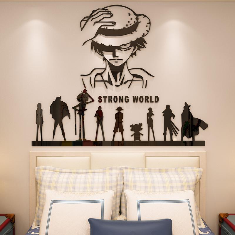 海贼王海报墙贴3d立体亚克力卡通路飞贴纸卧室背景墙装饰男生宿舍
