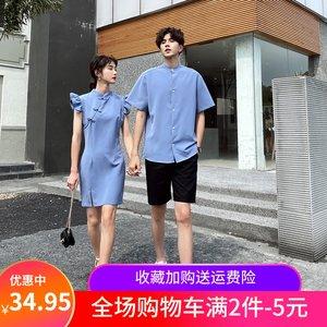 中国风宽松短袖青年装衬衣飞飞袖改良旗袍连衣裙汉服情侣学生班服