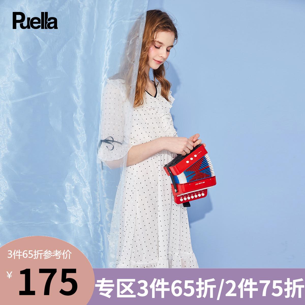 雪纺波点连衣裙女装2019春夏季新款白色很仙的法国小众中长款裙子