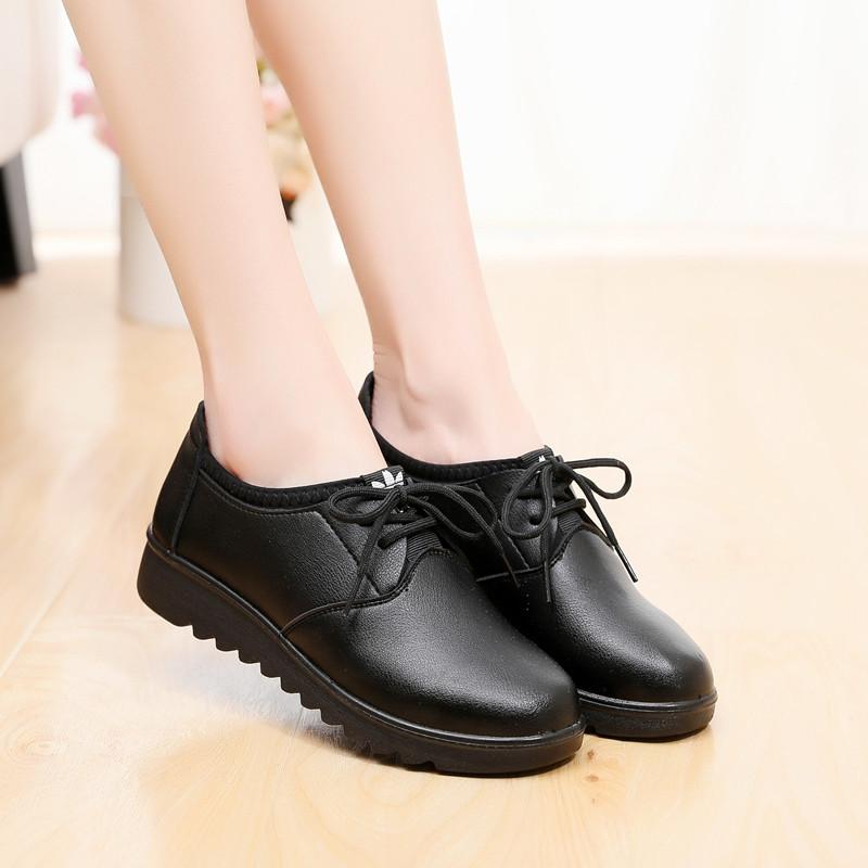 黑色工作鞋女平底单皮鞋厨房防水妈妈鞋防滑服务员鞋肯德基工作鞋