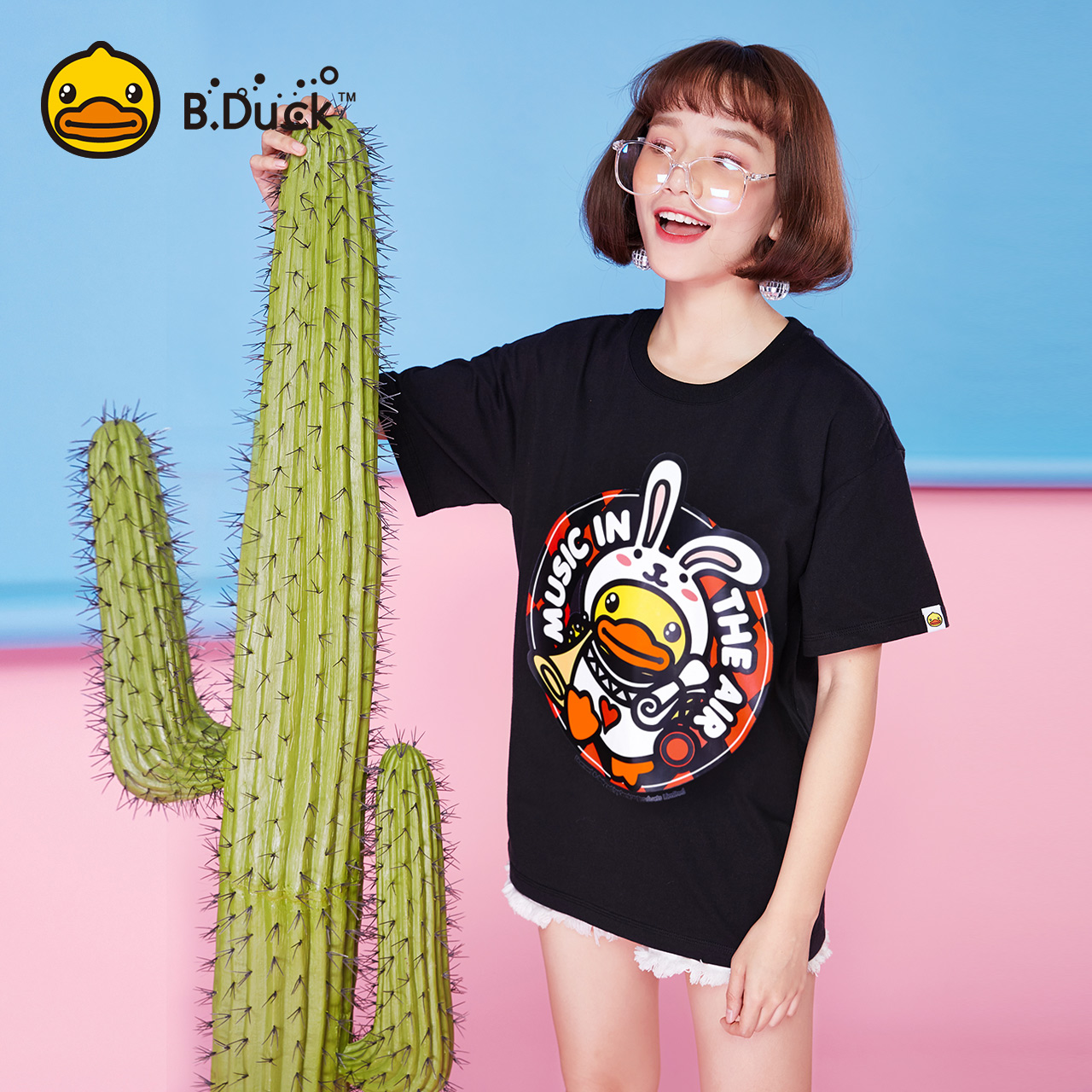 BDuck小黄鸭女装2018夏新款短袖时尚印花卡通T恤宽松上衣打底衫潮