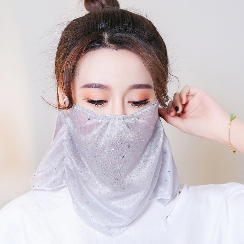 Summer sunscreen mask female sunshade neck face summer mask full face anti ultraviolet thin veil breathable cycling
