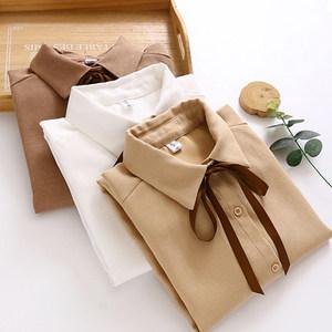 简约女长袖秋冬装灯芯绒系带白衬衫