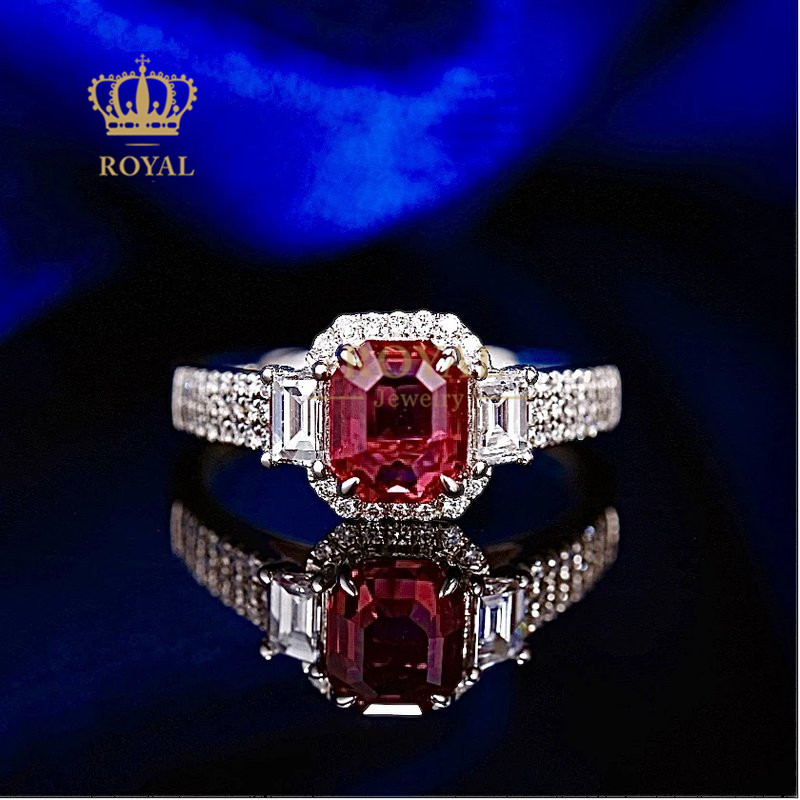 Royal jewelry 1.59ct Ruby Ring Diamond 0.613ct18k inlaid gold for girlfriend