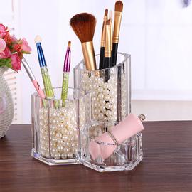 透明亚克力化妆刷收纳桶桌面办公学生名片笔筒美甲工具梳子整理盒