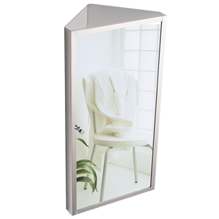 不鏽鋼轉角鏡櫃三角形現代簡約美式小户型掛牆式衞生間浴室鏡箱