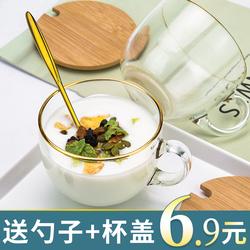大容量金边玻璃杯子家用水杯女带把燕麦牛奶早餐杯带盖勺咖啡茶杯