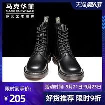 马克华菲马丁靴男高帮皮鞋男英伦风工装靴秋季百搭皮靴中帮靴子男