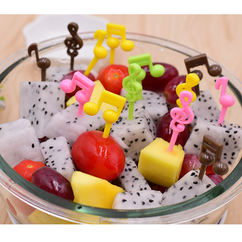 Treble clef fruit fork creative music fruit salad sign double octave childrens lunch accessories