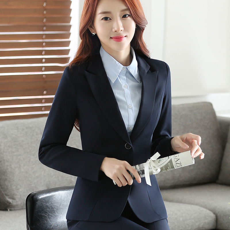 Autumn and winter new thickened suit womens professional wear extra large size solid business dress simple fashion